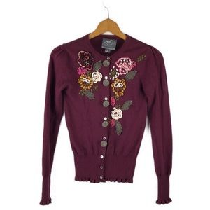 Anthropologie Burgundy Knitted Dove Cardigan Sz S